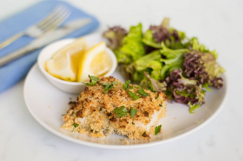 Baked Halibut and Parmesan Crumb Topping Recipe