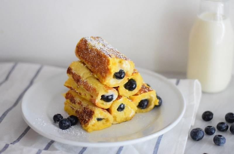 Blueberry Cream Cheese French Toast Roll-Ups