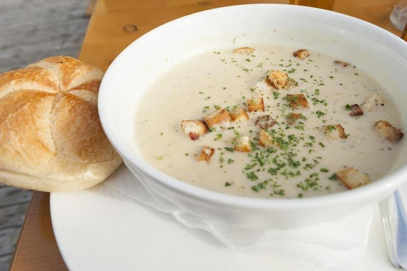 Homemade Creamy Chicken and Vegetable Soup With Rosemary