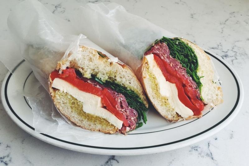 Salami, Mozzarella and Roasted Red Pepper Sandwich