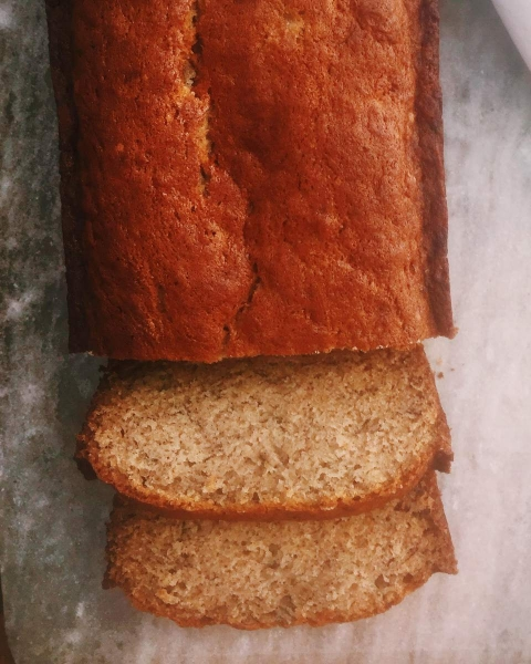 Moist Banana Bread with Vanilla Crème Fraiche